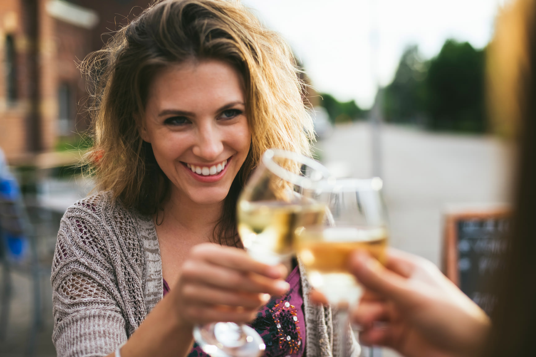 Lady Laughing And Drinking Wine Gif